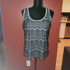 Sz XXL Mossimo gray with black lace overlay tank